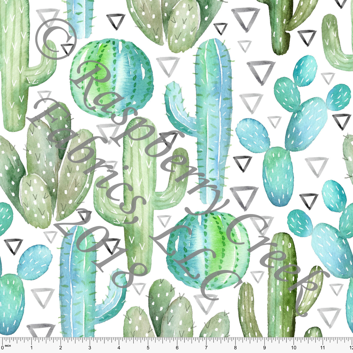 Seafoam Green Blue and Grey Cactus Triangle 4 Way Stretch Jersey Knit Fabric, Club Fabrics