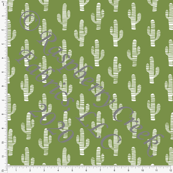 Leaf Green and White Cactus Print Double Brushed Poly Knit Fabric, By Brittney Laidlaw for CLUB Fabrics - Raspberry Creek Fabrics