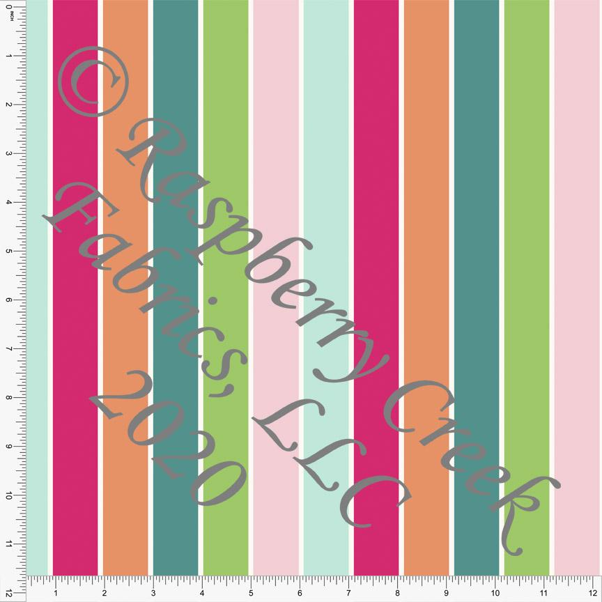 Teal Green Fuchsia Mint and Orange Vertical Multi Stripe Print 4 Way Stretch MATTE SWIM Knit Fabric, California Dreamin By Kimberly HenrieClub Fabrics - Raspberry Creek Fabrics