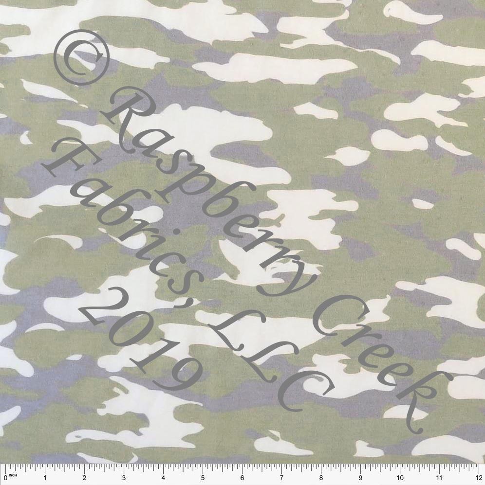 Olive Green and Grey Faded Look Camouflage on Off White 4 Way Stretch Jersey Knit Fabric, Club Fabrics