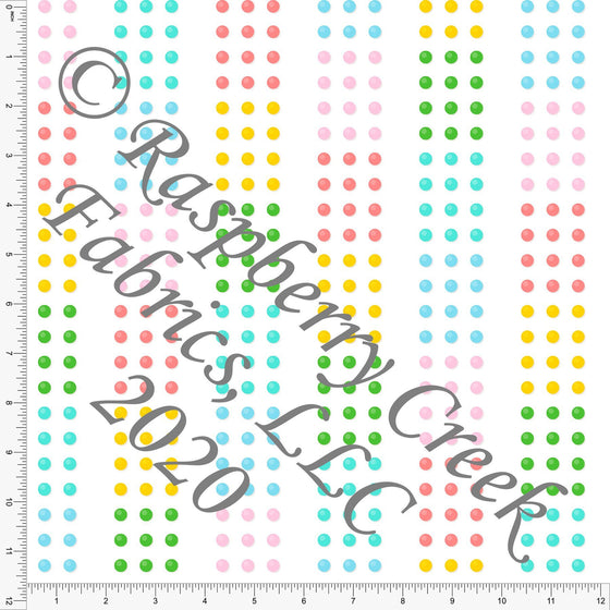 Pink Blue Green and Yellow Vertical Stripe Candy Dots, Candy Shoppe By Bri Powell for Club Fabrics - Raspberry Creek Fabrics