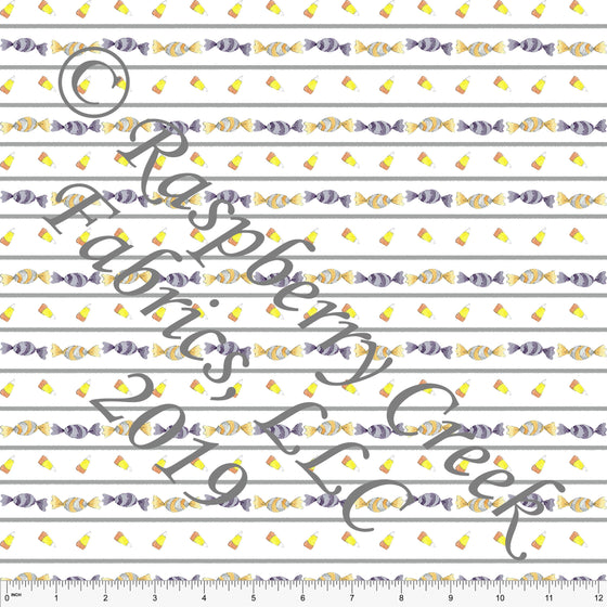 Grey Yellow Purple and Orange Halloween Candy Stripe by Elise Peterson for Club Fabrics - Raspberry Creek Fabrics