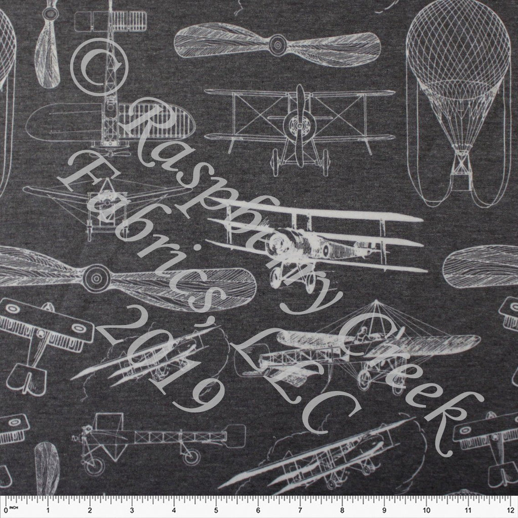 Charcoal Grey and White Vintage Airplane French Terry Fleece Sweatshirt Knit Fabric, By Kimberly Henrie for CLUB Fabrics - Raspberry Creek Fabrics