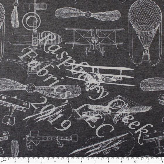 Charcoal Grey and White Vintage Airplane Heathered FLEECE Sweatshirt Knit Fabric, By Kimberly Henrie for CLUB Fabrics - Raspberry Creek Fabrics