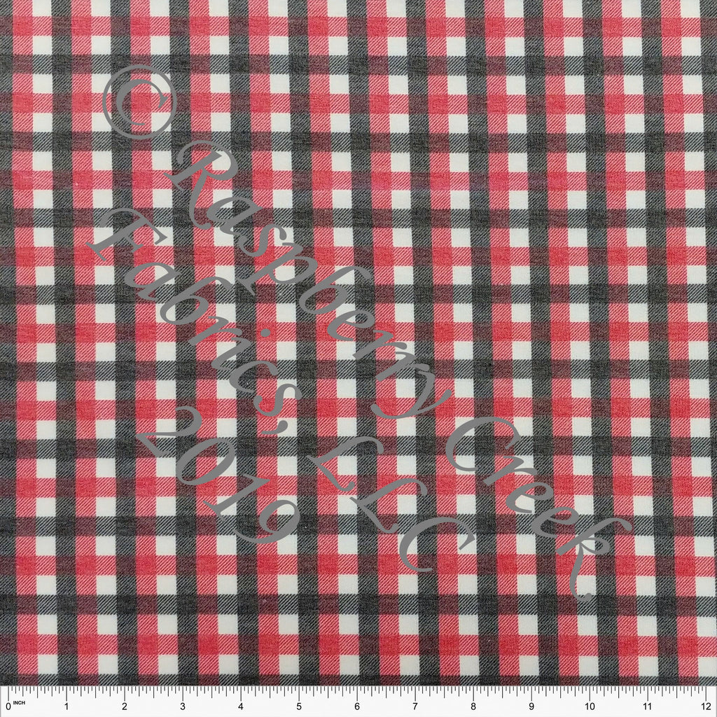 Red Charcoal and White Check Gingham Heathered FLEECE Sweatshirt Knit Fabric, CLUB Fabrics - Raspberry Creek Fabrics