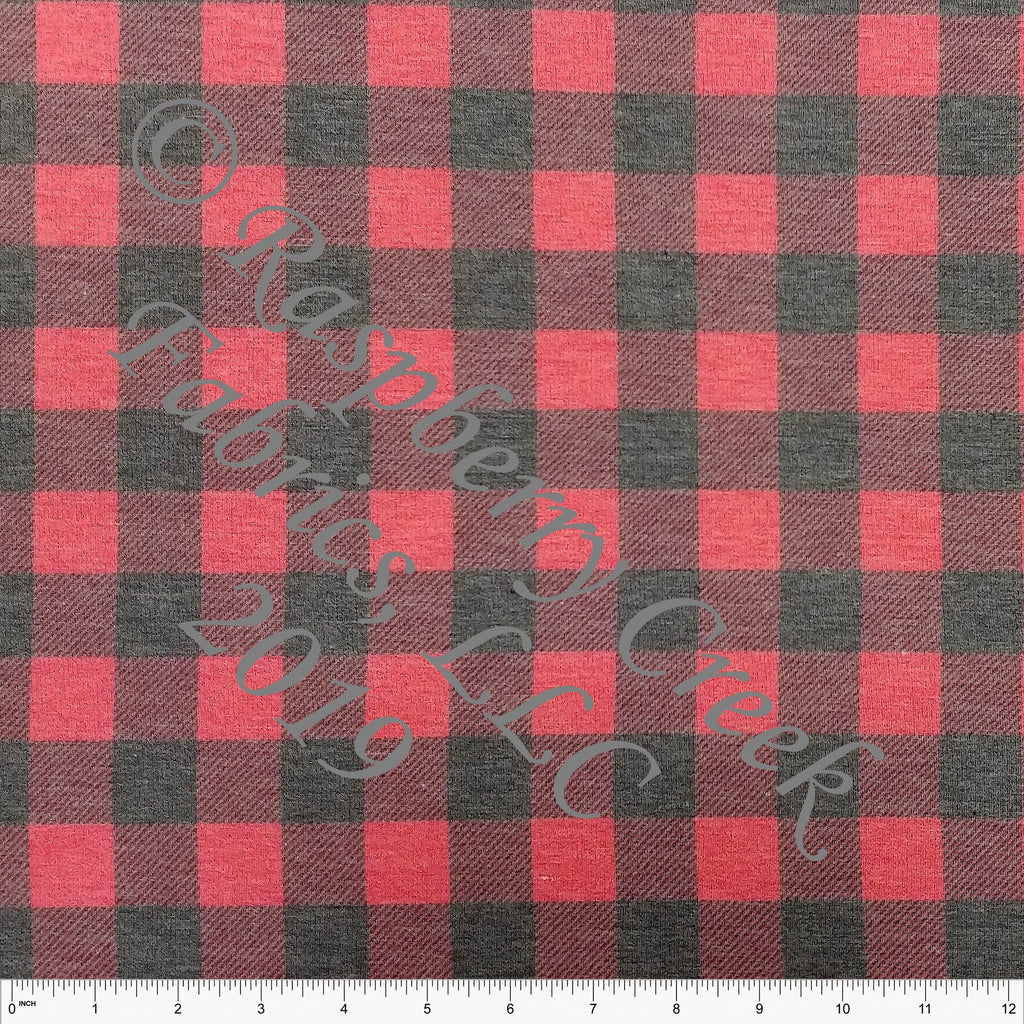 Charcoal and Red Buffalo Plaid Heathered FLEECE Sweatshirt Knit Fabric, CLUB Fabrics - Raspberry Creek Fabrics