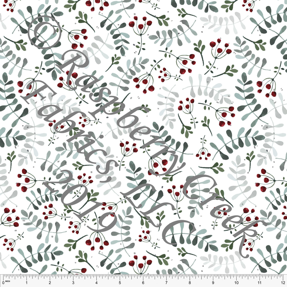 Hunter Green Burgundy and Grey Leaves and Berries by Elise Peterson for Club Fabrics - Raspberry Creek Fabrics