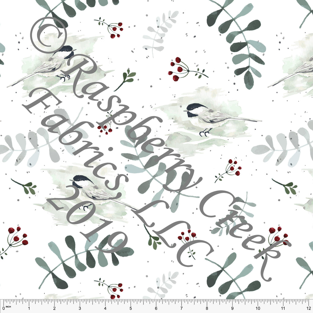 Hunter Green Burgundy and Grey Chickadees by Elise Peterson for Club Fabrics - Raspberry Creek Fabrics