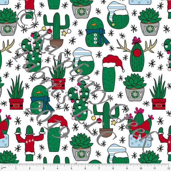 Green Red Blue and Grey Christmas Cactus By Brittney Laidlaw for Club Fabrics - Raspberry Creek Fabrics