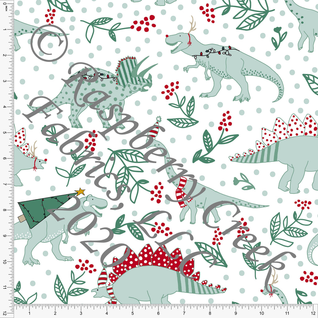 Red Dusty Green and Mustard Christmas Dinosaur Print, Christmas Floralsaurus by Kimberly Henrie for Club Fabrics - Raspberry Creek Fabrics