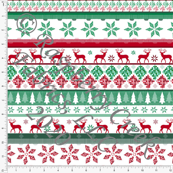 Red Burgundy Kelly Green and Hunter Green Fair Isle Stripe Print, Ho Ho Ho by Elise Peterson for Club Fabrics - Raspberry Creek Fabrics