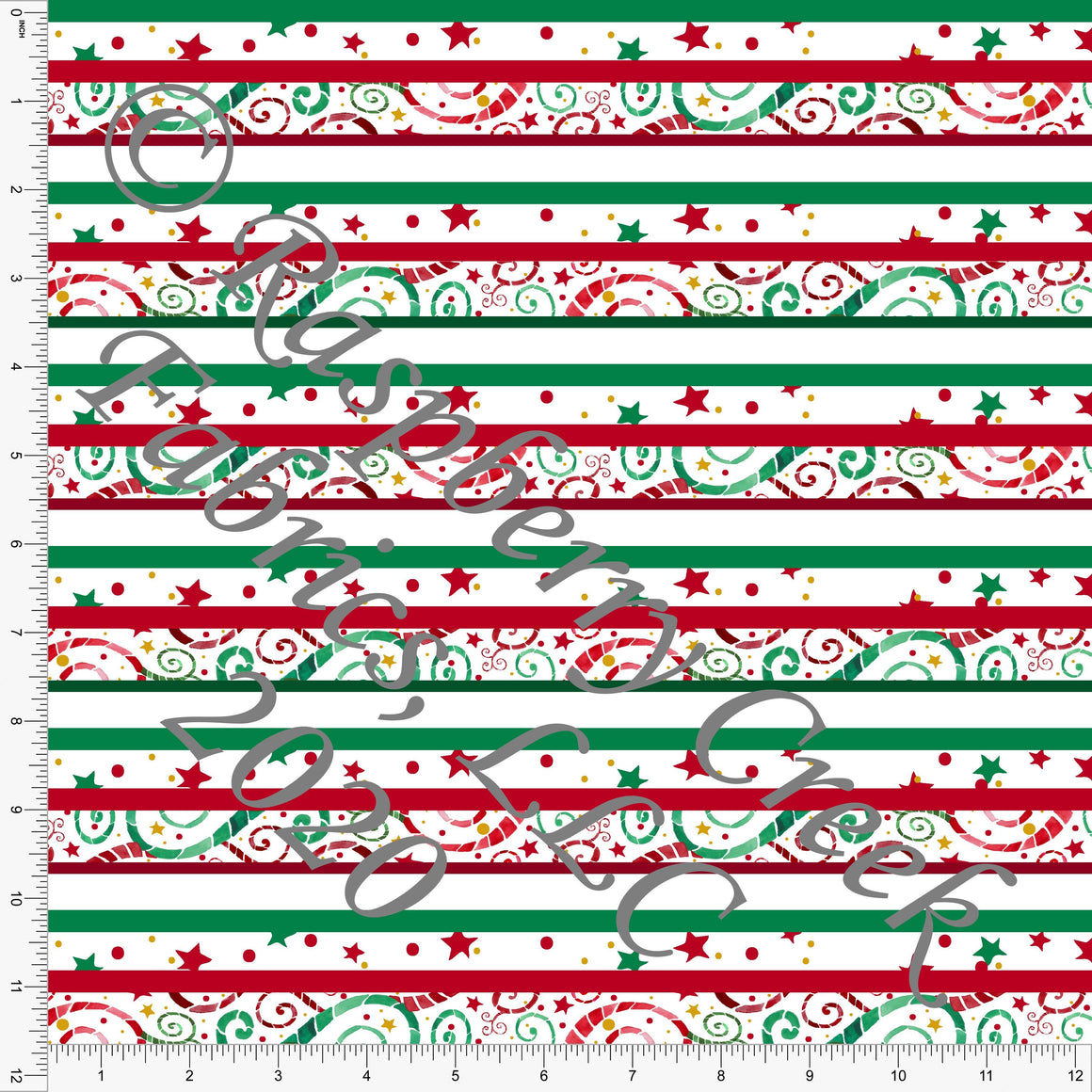 Kelly Green Red and Mustard Fleur Stripe Print, Ho Ho Ho by Elise Peterson for Club Fabrics - Raspberry Creek Fabrics