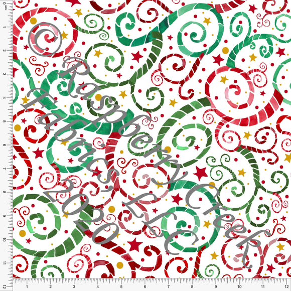 Kelly Green Red and Mustard Fleur Print, Ho Ho Ho by Elise Peterson for Club Fabrics - Raspberry Creek Fabrics