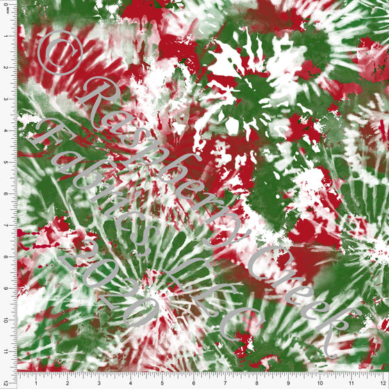 Red and Kelly Green Tie Dye Print, Christmas for Club Fabrics - Raspberry Creek Fabrics