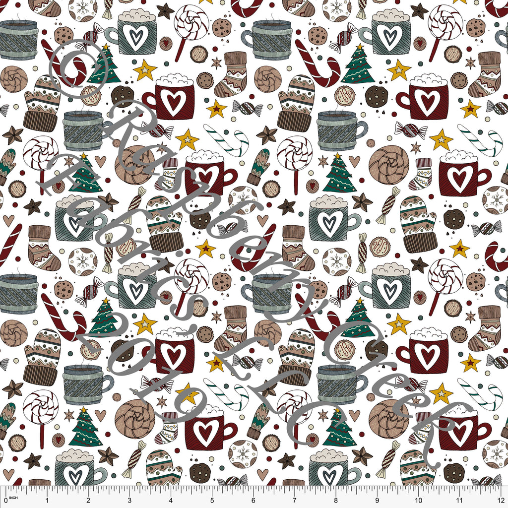 Burgundy Hunter Green Mustard and Beige Christmas Goodies by Kelsey Shaw for Club Fabrics - Raspberry Creek Fabrics