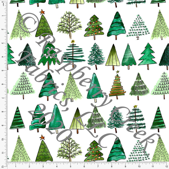 Tonal Kelly and Olive Green Christmas Tree Print, No So Ugly Sweater by Brittney Laidlaw for Club Fabrics - Raspberry Creek Fabrics