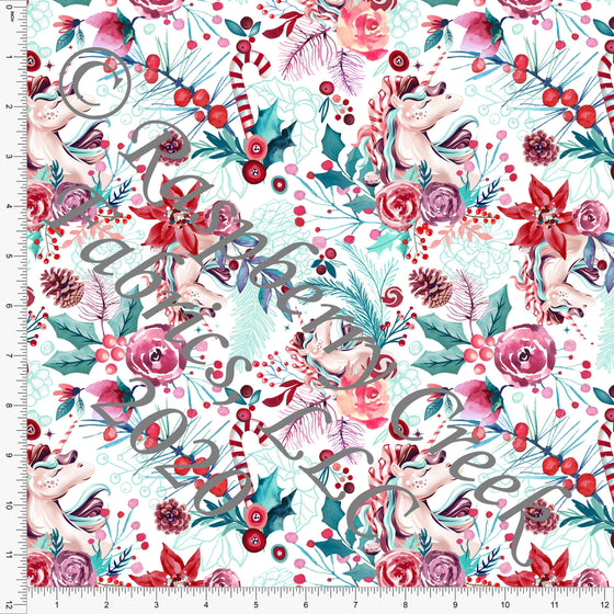 Teal Peach Mint Red and Dusty Purple Unicorn Poinsettia Floral Print, Whimsical Christmas By Tonya Knowlden for Club Fabrics - Raspberry Creek Fabrics