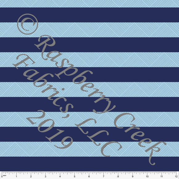 Navy and Light Blue Wide Geometric Circus Stripe 4 Way Stretch MATTE SWIM Knit Fabric, By Kim Henrie for Club Fabrics