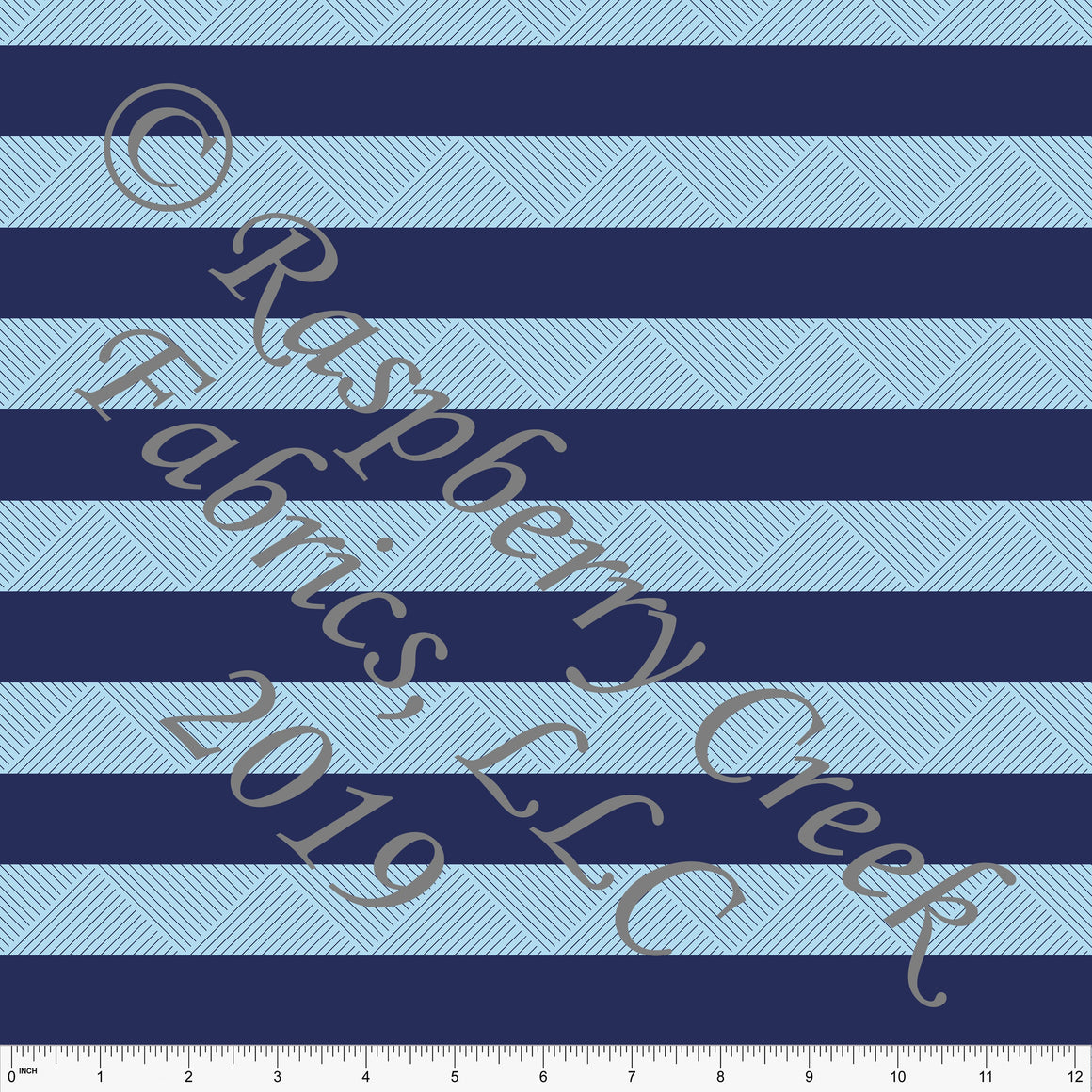 Navy and Light Blue Wide Geometric Circus Stripe 4 Way Stretch MATTE SWIM Knit Fabric, By Kim Henrie for Club Fabrics - Raspberry Creek Fabrics
