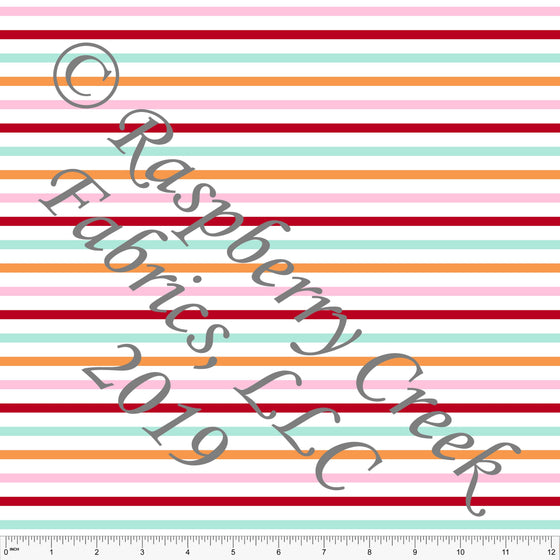 Pink Orange Red and Aqua Multi Circus Stripe 4 Way Stretch MATTE SWIM Knit Fabric, By Kim Henrie for Club Fabrics