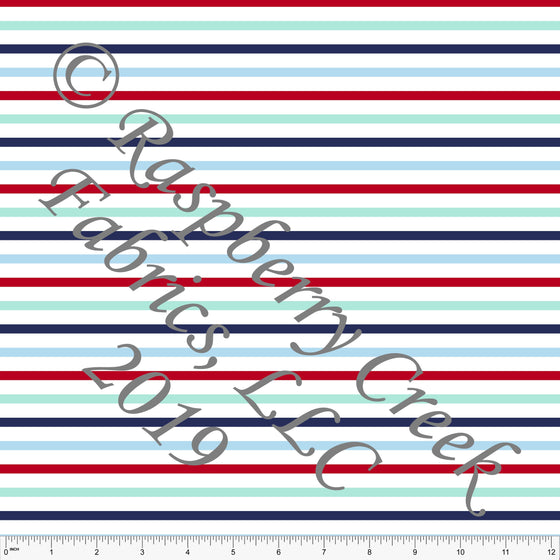 Navy Red Aqua and Light Blue Circus Multi Stripe 4 Way Stretch MATTE SWIM Knit Fabric, By Kim Henrie for Club Fabrics - Raspberry Creek Fabrics