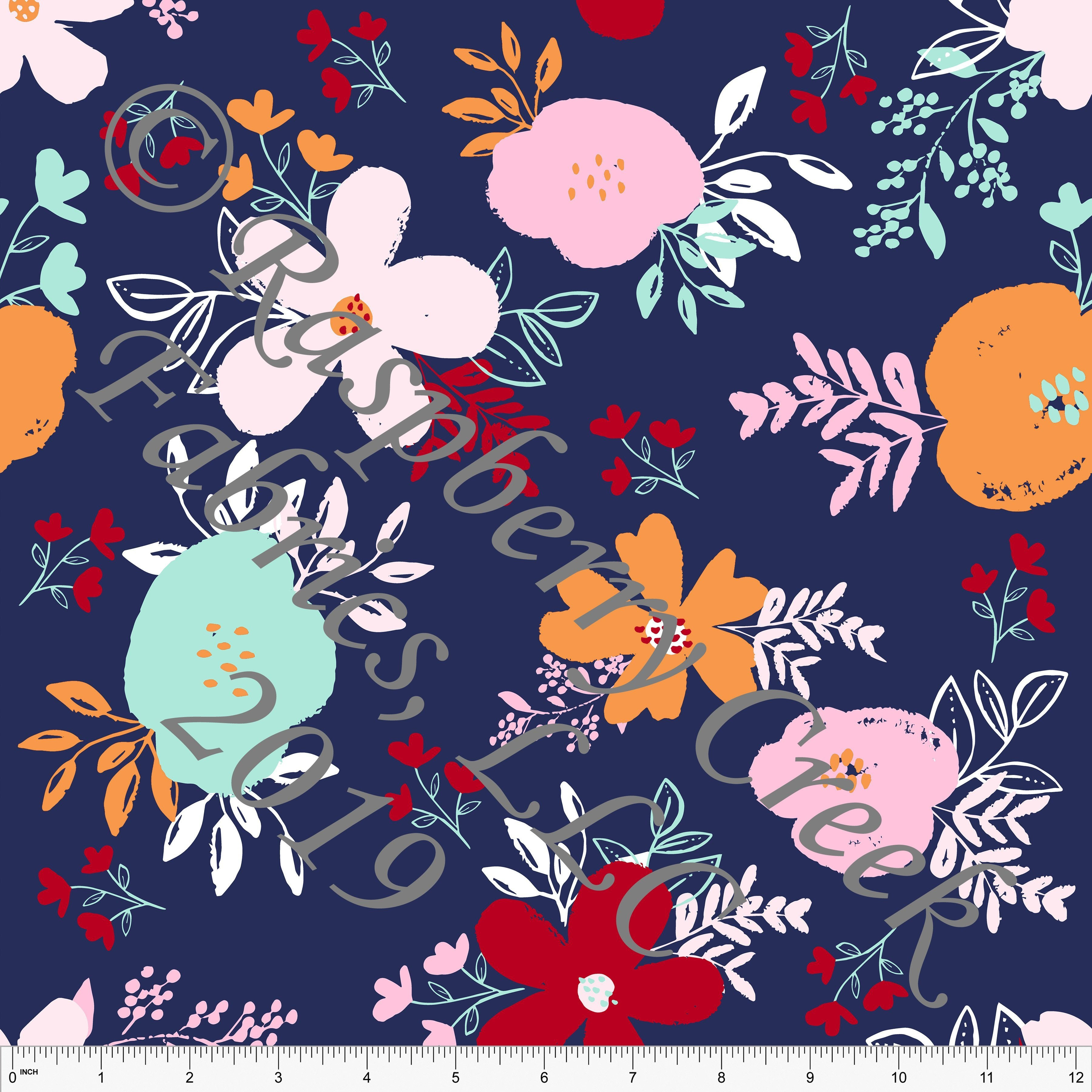 f1404eb4daa Navy Orange Pink Red and Mint Circus Floral 4 Way Stretch MATTE SWIM Knit  Fabric, By Kim Henrie for Club Fabrics