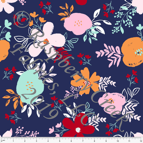 Navy Orange Pink Red and Mint Circus Floral 4 Way Stretch MATTE SWIM Knit Fabric, By Kim Henrie for Club Fabrics - Raspberry Creek Fabrics