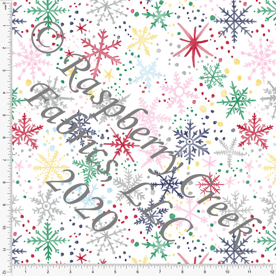 Red Green Pink Yellow and Blue Multi Color Snowflake Print, No So Ugly Sweater by Brittney Laidlaw for Club Fabrics - Raspberry Creek Fabrics