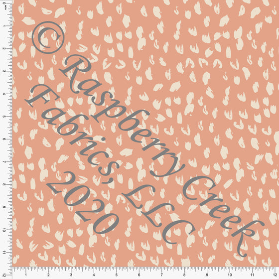 Dusty Peach and Cream Painted Abstract Animal Spots Print Double Brushed Poly Knit Fabric, By Kimberly Henrie for CLUB Fabrics Raspberry Creek Fabrics