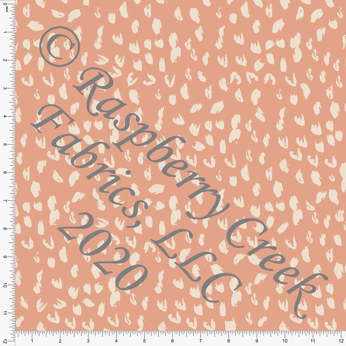 Dusty Peach and Cream Painted Abstract Animal Spots Print Double Brushed Poly Knit Fabric, By Kimberly Henrie for CLUB Fabrics - Raspberry Creek Fabrics
