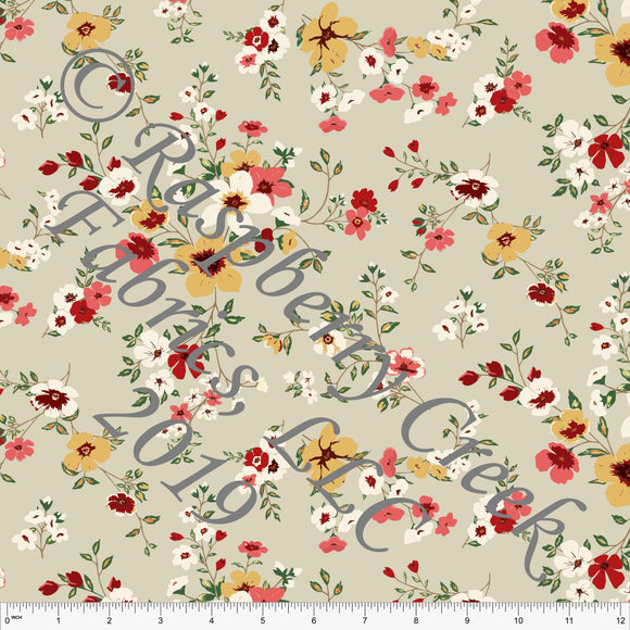 Taupe Mustard Coral Burgundy and Green Floral Rayon Challis, CLUB Fabrics, 1 Yard - Raspberry Creek Fabrics