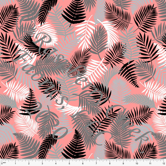 Coral Black Grey and White Palm Leaves Print By Brittney Laidlaw for Club Fabrics - Raspberry Creek Fabrics