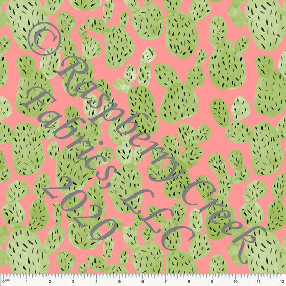 Coral Green and Black Cactus Print By Brittney Laidlaw for Club Fabrics - Raspberry Creek Fabrics