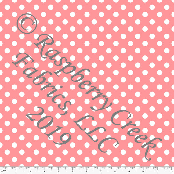 Coral and White Polka Dot 4 Way Stretch MATTE SWIM Knit Fabric, Club Fabrics - Raspberry Creek Fabrics