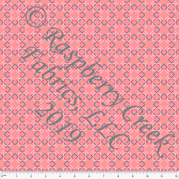 Coral Teal and Fuchsia Geometric Diamond 4 Way Stretch MATTE SWIM Knit Fabric, By McKenzie Powell for Club Fabrics - Raspberry Creek Fabrics