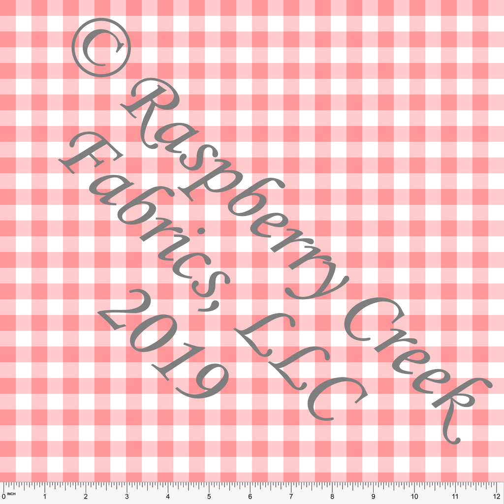 Coral and White Check Gingham Sueded Microfiber Woven Board Short Fabric, CLUB Fabrics - Raspberry Creek Fabrics