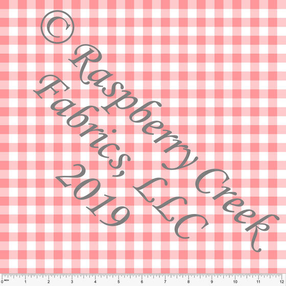 Coral and White Check Gingham 4 Way Stretch MATTE SWIM Knit Fabric, Club Fabrics - Raspberry Creek Fabrics