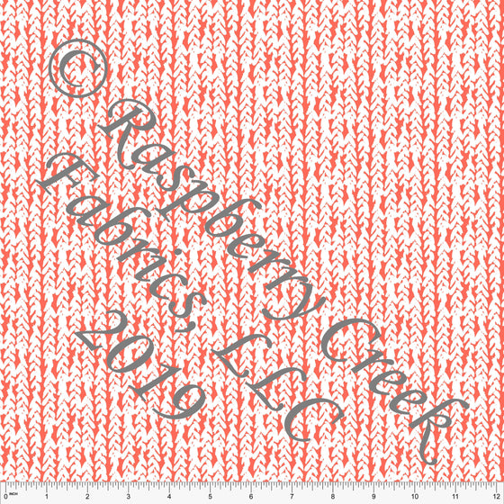 Deep Coral and White Vertical Stripe Herringbone Rayon Challis, CLUB Fabrics, 1 Yard - Raspberry Creek Fabrics