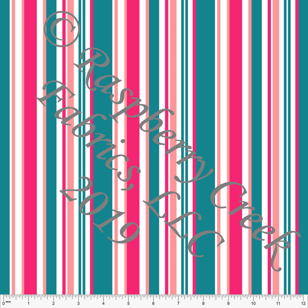 Teal Fuchsia and Coral Vertical Variegated Stripe 4 Way Stretch MATTE SWIM Knit Fabric, By McKenzie Powell for Club Fabrics - Raspberry Creek Fabrics