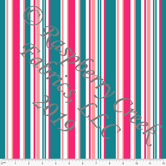 Teal Fuchsia and Coral Vertical Variegated Stripe 4 Way Stretch MATTE SWIM Knit Fabric, By McKenzie Powell for Club Fabrics