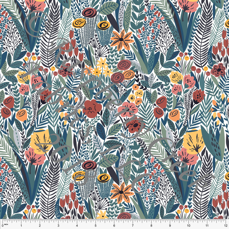 Coral Rust Teal and Grey Floral Rayon Challis, 1 Yard