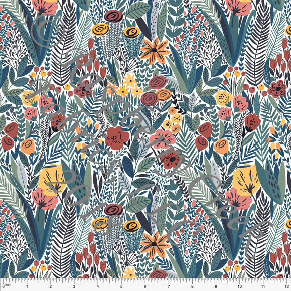 Coral Rust Teal and Grey Floral Rayon Challis, CLUB Fabrics, 1 Yard
