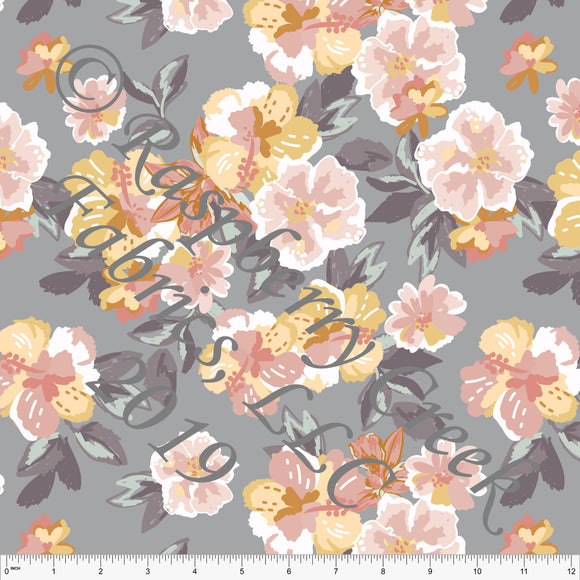 Grey Coral Mustard and Sage Floral Ponte De Roma Knit Fabric, CLUB Fabrics, 1 yard - Raspberry Creek Fabrics