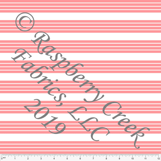 Coral and White Stripe 4 Way Stretch MATTE SWIM Knit Fabric, Club Fabrics - Raspberry Creek Fabrics