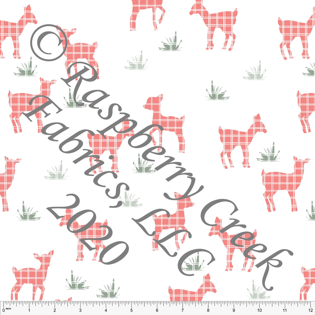 Coral and Sage Windowpane Deer, Flora and Fauna By Lisa Mabey Club Fabrics - Raspberry Creek Fabrics