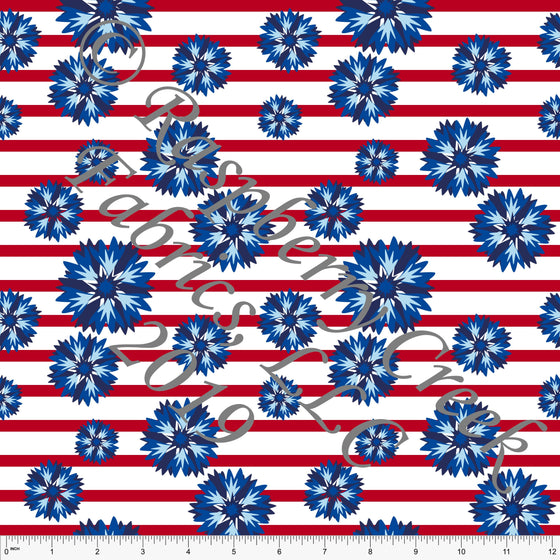 Navy Blue and Red Cornflower Stripe 4 Way Stretch Jersey Knit Fabric, By Courtney Graziano for CLUB Fabrics