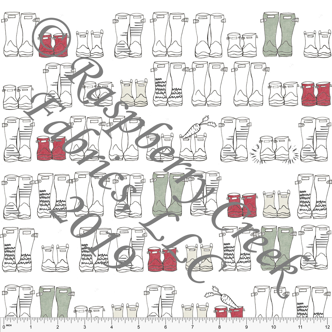 Black White Red and Sage Cozy Boots by Bri Powell for Club Fabrics - Raspberry Creek Fabrics