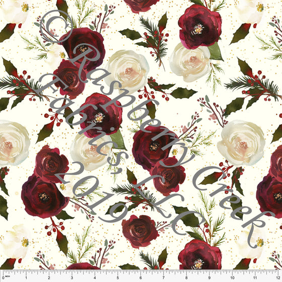 Cream Burgundy Olive Green and Gold Christmas Floral 4 Way Stretch Double Brushed Poly, CLUB Fabrics - Raspberry Creek Fabrics