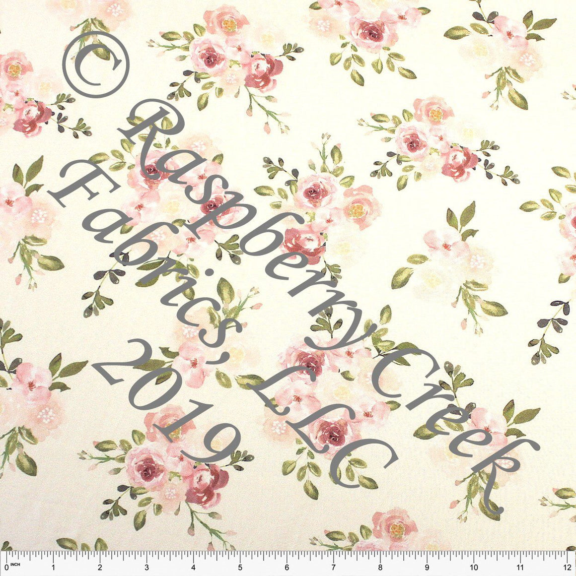 Cream Mauve Blush and Olive Watercolor Floral 4 Way Stretch Double Brushed Poly Knit Fabric, Brushed Poly for CLUB Fabrics - Raspberry Creek Fabrics