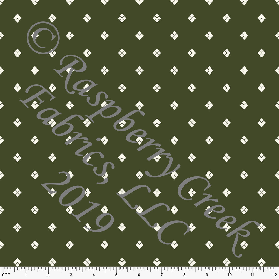 Olive Green and Cream Geometric Diamond Print Stretch Crepe, CLUB Fabrics, 1 Yard - Raspberry Creek Fabrics